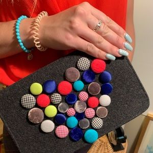 Shiraleah gray flannel clutch